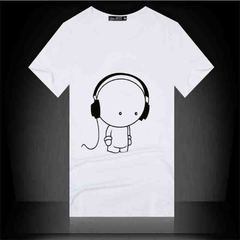 IFEEL one Men's round collars go well with large short-sleeved t-shirts Take headphones figure white S pure cotton