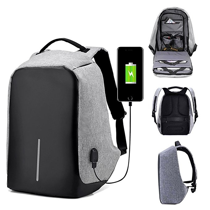 Anti-theft USB Charging Port Business Backpack -Black Grey and Black Normal