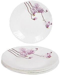 Dinner Plates 6 Pieces + FREE 6 Tablespoons - White and Purple flowers white normal
