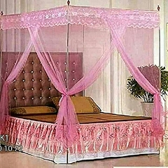 4 * 6 - Mosquito Net with 4 Metallic Stands pink normal