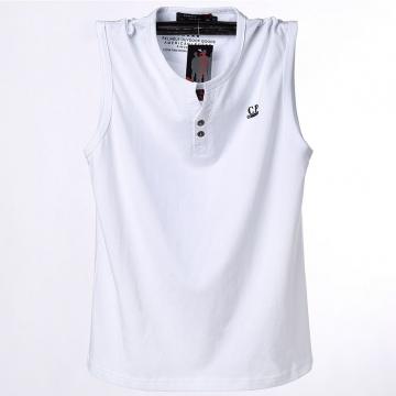 Large size men 's sleeveless T - shirt large sleeper vest sports leisure fat guy shirt white L