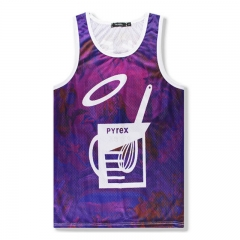 Men's Mesh Vest Sports Sleeveless Cuff Shoulder Stretch Loose T-shirt purple m