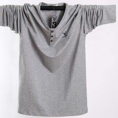 Pure Cotton Thin Long Sleeve T-shirt Men gray l
