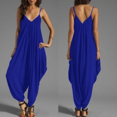 Women's low-breasted V-neck sexy sling pants loose piece pants sapphire 2XL