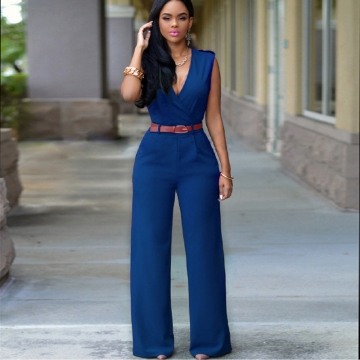 Women's high waist V-neck wide leg pants irregular set with belt Lake Blue M
