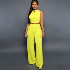 Women 's new single - breasted high waist wide leg pants waistband belt yellow M