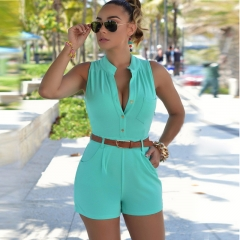 Fashion Women's loose casual pants shorts with belts sky blue M