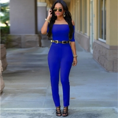 The new was thin fashion sexy Conjoined pants Women 's summer breasts blue M