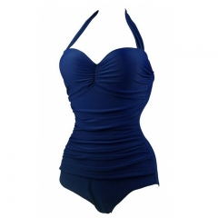 Fashion sexy solid color swimsuit for woman navy blue XL