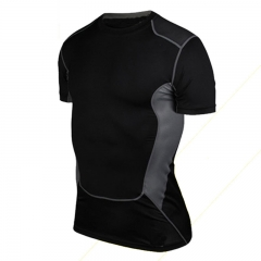 Men's fitness fitness color short-sleeved T-shirt black m