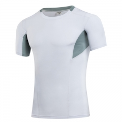 Summer fitness running tight-fitting short-sleeved T-shirt white m
