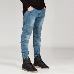 Men's Slim Pants Elastic Jeans blue6601 30