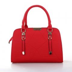 Women Handbag Bag Zip Closure Tote Vintage Shoulder Bag PU Leather Red 1