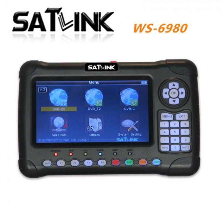 Digital Satellite Finder Satlink WS-6980 7Inch HD LCD Screen DVB-S2&DVB-T/T2&DVB-C 6980 Combo Finder