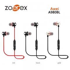 Awei A980BL Wireless Mini Metal Ear Tone Bluetooth Headset With Microphone black