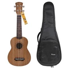 Kmise 21 Inch Soprano Ukulele Uke Hawaii Guitar Musical Instruments Zebrawood with Bag