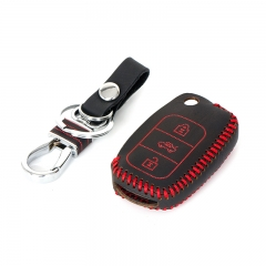 Genuine Leather Car Remote Key Cover Case Shell Holder for VW Lavida Sagitar  Red with Key Chain Fob