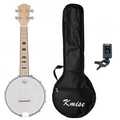 Kmise Banjo Ukulele Banjolele 4 String Ukelele Uke Concert 23 Inch Size Maple with Bag Tuner