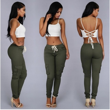 TopFashion Women's  leisure trousers  Solid Pants ARMY GREEN XL
