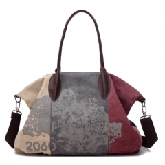 Women's Fashion Canvas Handbag Can Washing Pure Cotton Single Shoulder Bag Inclined Shoulder Bag wine Red 32*44*16cm
