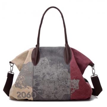 Women's Fashion Canvas Handbag Can Washing Pure Cotton Single Shoulder Bag Inclined Shoulder Bag wine Red 32*44*16cm