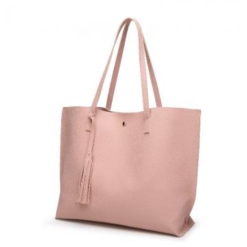 Luxury brand ladies shoulder bag soft leather handbag high grade ladies handbag pink 36X30X11CM