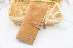 Long ladies wallet luxury brand designer ladies ladies cute lady wallet wallet leather cartelas Coffee 19.5x8.7x1.5CM