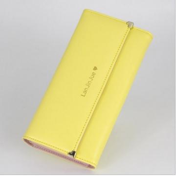 Long designer designer lady leather luxury lady wallet female purse handbag yellow 19X11X3CM