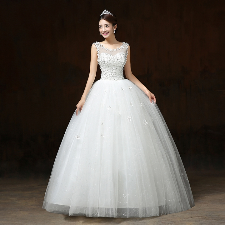 Fashion Korean Lace Up Ball Gown Quality Wedding Dresses White M
