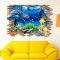 3D Cartoon Sea World Wall Stickers Home Decor Sticker Room Decoration Painting Murals blue 50*70CM