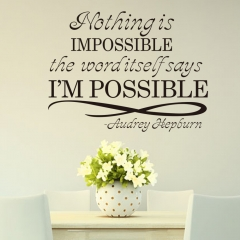 Nothing Is Impossible English Living Room Bedroom Decorative Wall Stickers NothingIs Impossible 57*43CM