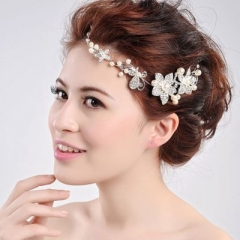 1pcs Wedding Hair Accessories Clips  Crystal Pearl Flower HairPin Tiara Bridal Crown Hair Pins White 10cm