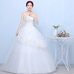 2017 new bride bra Qi thin slim size Korean minimalist slim dress white s