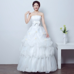 2017 new bride wedding dress simple Korean married Princess's wedding dress neat white s