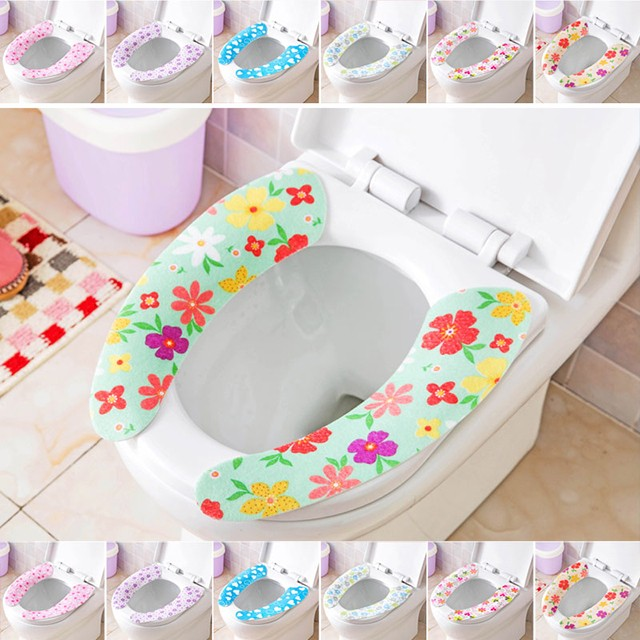 3 Pairs Toilet Seat Cover Sticker Sheet Washable Pads random colors standard