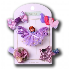 (Pack of 5)Unyee Baby Toddler Girl Hair Accessories Gift Set Hair Clips purple