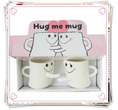 2pcs/set Creative Ceramic Lovers Coffee mug hug right cup couple cups Valentines Gift White 230ml