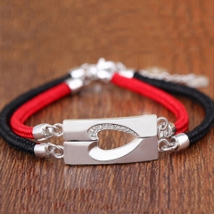 1 Pair 925 Silver Heart Shape Lover Couple Red Black Strand Bracelet Silver Standard