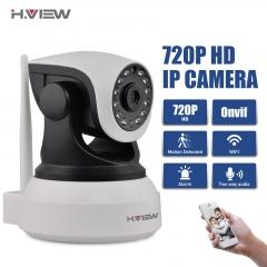 H.View WiFi Wireless 720P IP Camera Two Way Audio Baby Monitor Pan Tilt Security Camera white+black uk plug