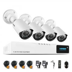 H.View 720P CCTV Security Camera System 4CH AHD DVR 4 720P Security Camera Easy Smart Phone Access