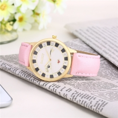 (Brown in Stock) Fashion Cat Watch Leather Strap Lady Watch Pink White Brown Leather Watches Pink