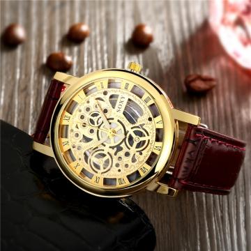 Cestbella Men Full Stainless Steel Wrist Watch Golden Men Metal Watches Brown one size