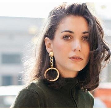 Women's Day Gift Crystal Zircon Shining Big Elegant Earrings Jewelry for Women Gold golden normal size
