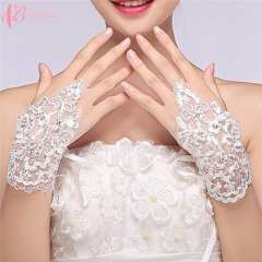 New Style Beautiful Fashionable Fingerless  Cestbella Wedding Lace Bridal Gloves pure white normal size