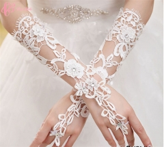 Great Low Price Elegant Rhimestone Elbow Floral Formal Cestbella  Wedding Bridal Glove pure white normal size