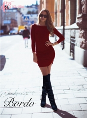 (Gray, Us 8; Skin Color, Us 8;  Skin Color, Us 10 in Stock) Office Slit T-Shirt Pencil Dress red us 8