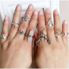 (Royal Blue in Stock)Women's day Gift  9pcs or 4pcs Vintage Silver or Blue Rings Midi Rings pure white normal size