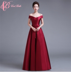 Cestbella Colorful Courtlike Hot Sale Ball Gown Evening Party Cocktail Dress Satin Dress Wine Red US  4