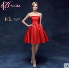 Cestbella Elegant Economic Pretty Erotic Strapless Off-Shoulder Bridesmaid Dress Red us  4