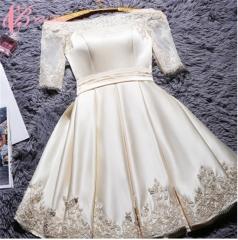 2017 Cestbella Korean Fashion Knee Length Appliqued Bridemaid Short Dresses Party Dress Champagne us  4